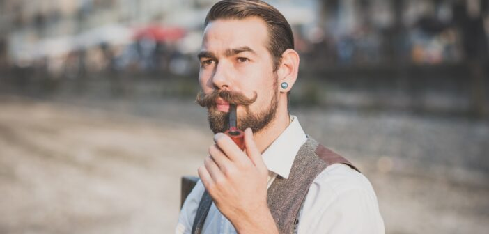 handsome big moustache hipster man